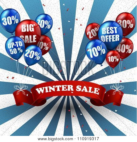 Winter sale balloons and discounts background