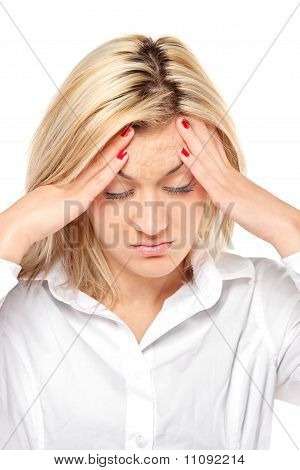 Woman In Pain As A Result Of A Cracking Headache