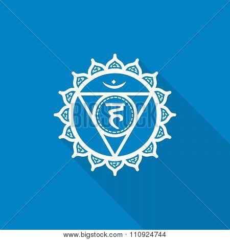 Vishuddha.  Beautiful Indian Ornamental 7 Chakras Collection. Vector Illustration. Color Yoga Chakra