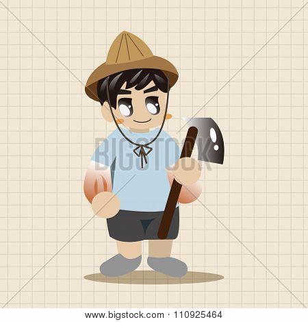 People Theme Farmer Elements