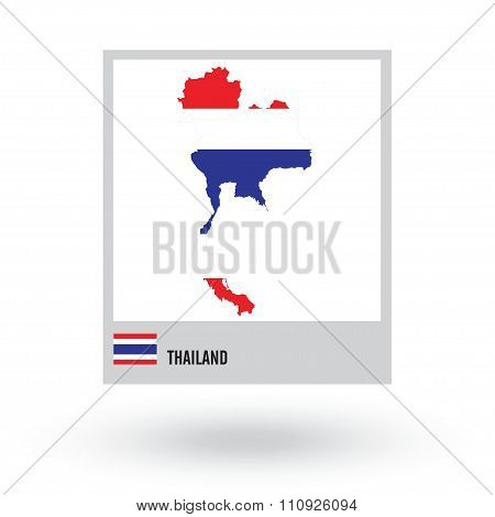 Map of Thailand with national flag. vector EPS10.