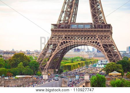 Wonderful view of Eiffel Tower from one of the street in Paris