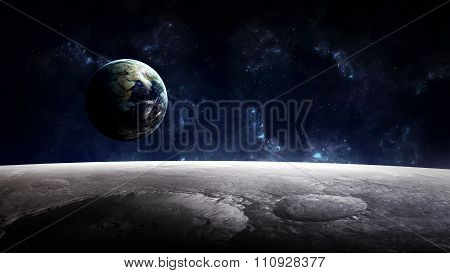 High Resolution Planet Earth view from the moon surface. Elements of this image are furnished by NAS