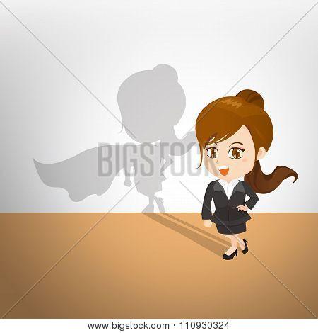 Cartoon Illustration Businesswoman Act Superhero