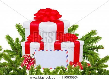 Christmas Gift Boxes, Decoration Balls And Christmas Tree Branch Isolated On White