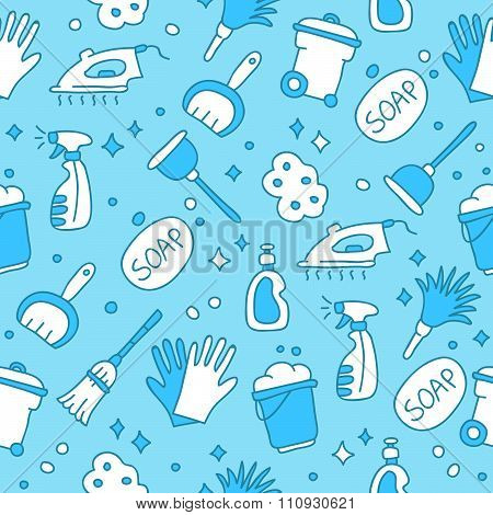 Seamless pattern of icons cleaning