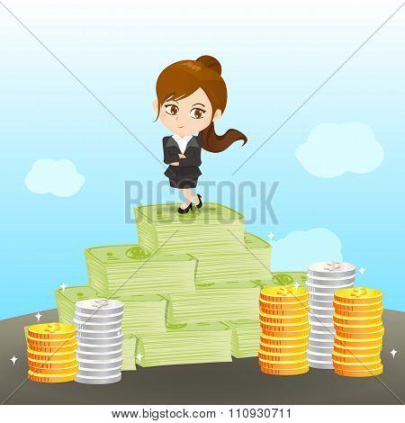 Cartoon Businesswoman Wealthy