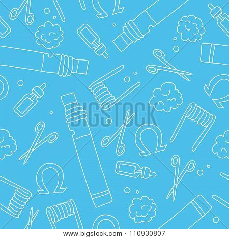 Seamless pattern of the icons of electronic cigarettes