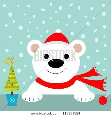 Big White Polar Bear In Santa Claus Hat And Scarf. Merry Christmas Greeting Card. Blue Background Wi