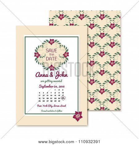 floral vintage invitations with text. Gentle wedding card with retro flowers.