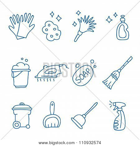 Cleaning. Vector icons