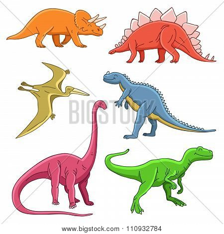 Different historical cute dinosaurs