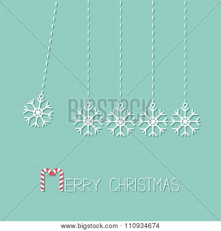 Five Hanging Snowflakes. Dash Line.  Perpetual Motion. Merry Christmas. Candy Cane. Flat Design. Blu