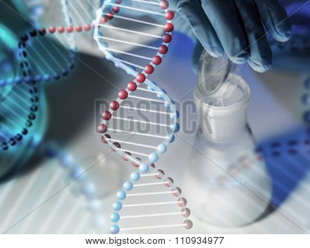 science, chemistry, biology, medicine and people concept - close up of scientist hand pouring chemical powder into flask making test or research in clinical laboratory over dna molecule structure