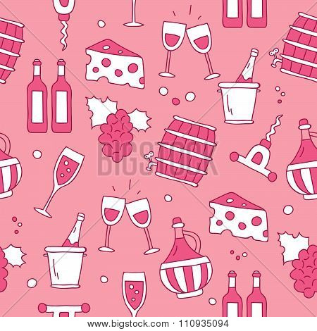 Seamless pattern of wine icons