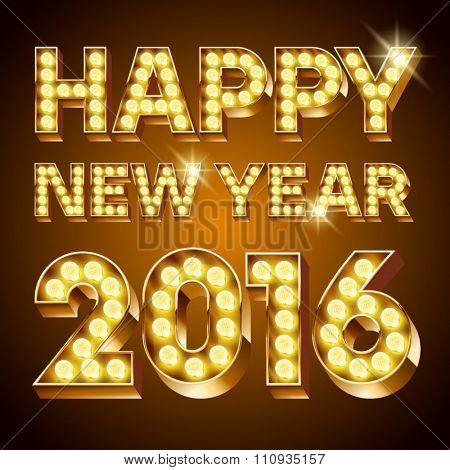Vector Happy 2016 new year greeting card with chic lamp text
