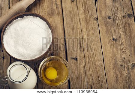 Flour, Egg, Milk. Ingredients For Cooking Flour Products Or Dough