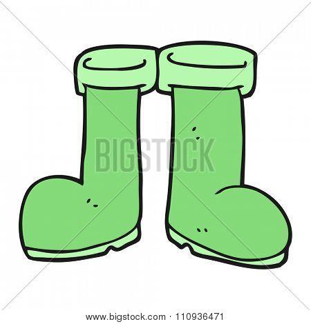 freehand drawn cartoon wellington boots