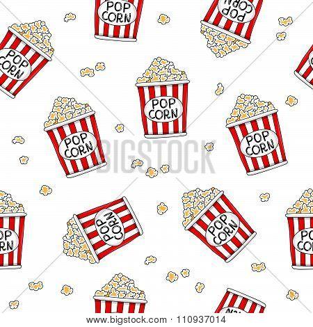 Seamless pattern of buckets of popcorn