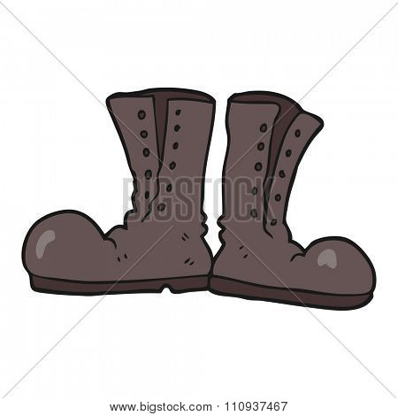 freehand drawn cartoon shiny army boots