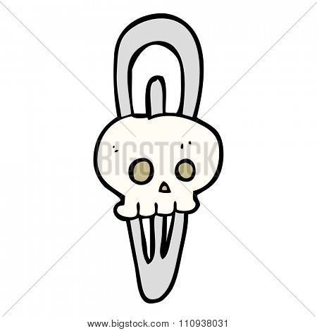 freehand drawn cartoon skull hairclip