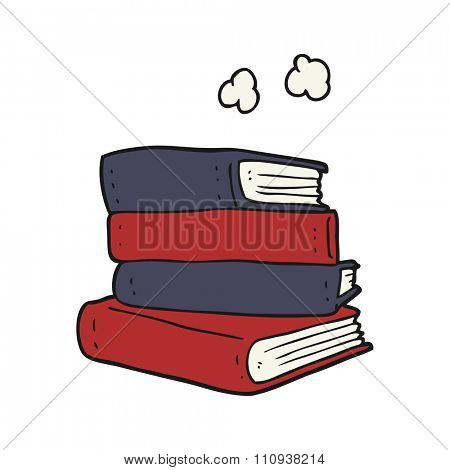 freehand drawn cartoon stack of books