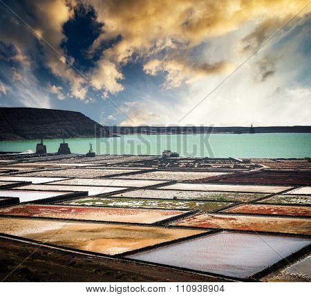 saltworks salinas de Janubio colorful on the island of Lanzarote, Canary Islands