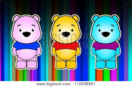 Illustration of three funny characters on colorful background