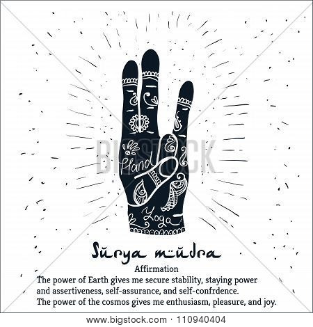 Element yoga Surya mudra hands with mehendi patterns.