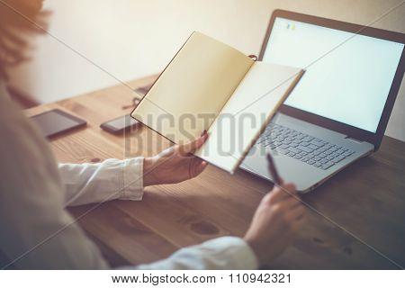Woman Freelancer Working At Home Telework Taking Notes.
