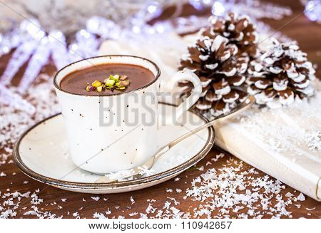Closeup Of Hot Chocolate Cocoa , The Perfect Winter Comfort Food