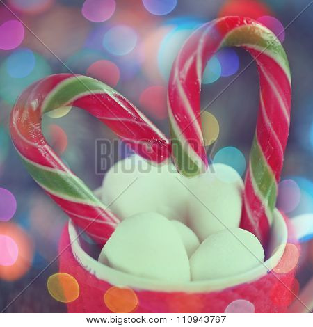 Christmas Hot Cocoa Drink Decorated With Heart Candy Cane And Ma