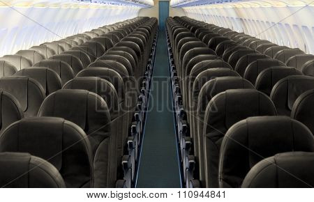 Airplane aisle with row of seats