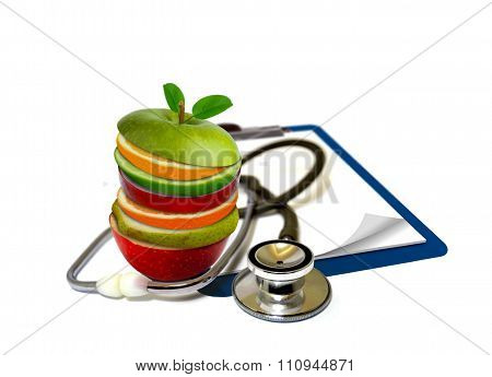 Slice Fruits And Stethoscope
