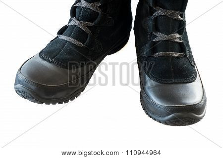 Women's Black Snow Boots Isolate