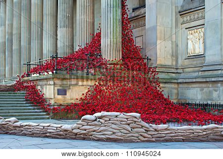 Liverpool Uk, December 8Th 2015. Weeping Window Poppy Sculpture At St Georges Hall Liverpool Uk.