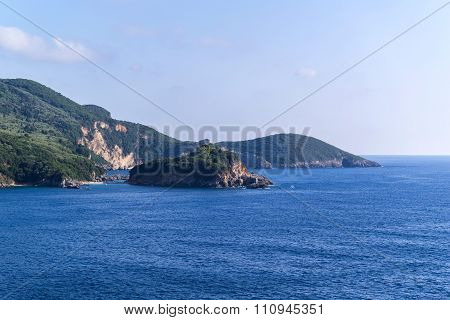 Hilly Or Mountain Landscape Sea And Sky