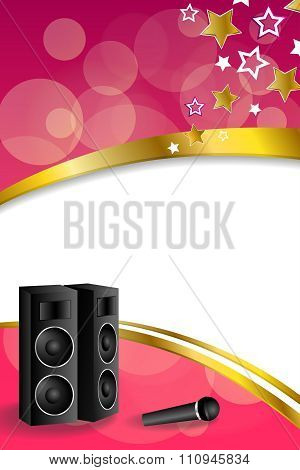 Background abstract karaoke microphone loudspeaker star pink yellow vertical gold ribbon frame