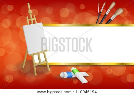 Background abstract easel picture paint brush red yellow gold stripes frame illustration vector