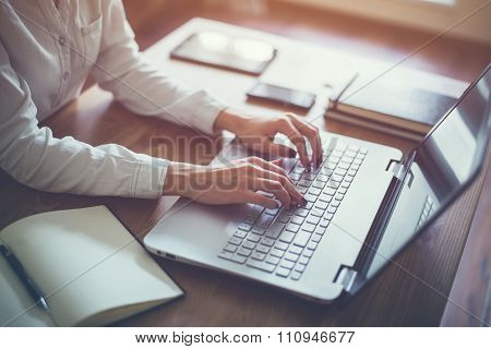 Female Working With Laptop At Home Woman's Hands On Notebook Computer Writer Blogger Designer Te