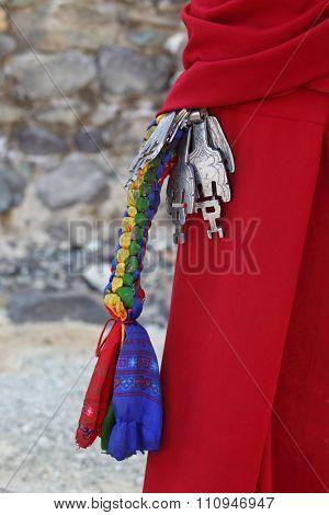 Bunch of keys in old Tibetan style - monastery in Ladakh