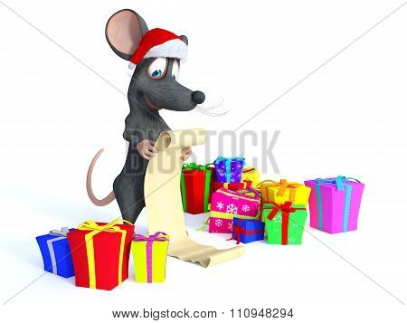 Cartoon Mouse Wearing Santa Hat And Reading Long Christmas Wishlist.