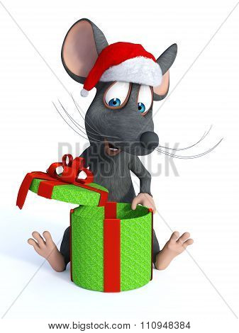 Cartoon Mouse Wearing Santa Hat And Opening Christmas Gift.
