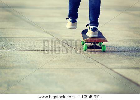 one young skateboarder legs skateboarding outdoor