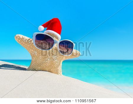 Starfish In christmas Santa Hat On Tropical Beach