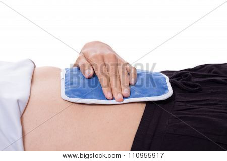 Woman Lying With Hot Water Bag On White Background