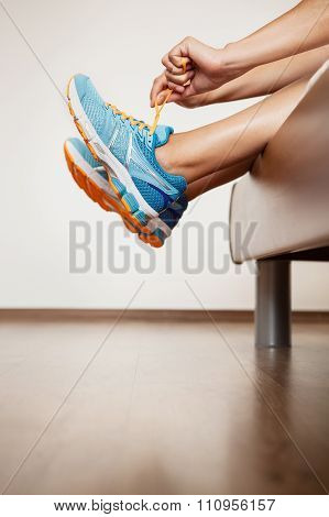 Runner Lace Her Run Shoes Sitting In Bed