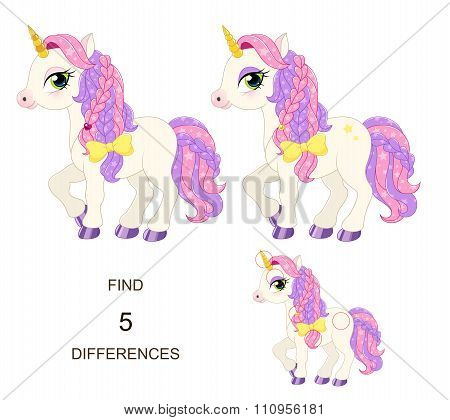 Find 5 differences. Baby pony for little princess.