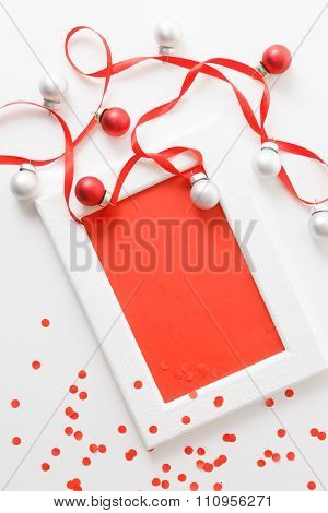 Greeting Card Template Made Of White Frame And Red Card With Red Ribbon, Silver And Red Balls And Re
