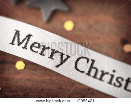 Merry Christmas, impressional background. Intentionally shot in shallow depth of field and retro muted tone.